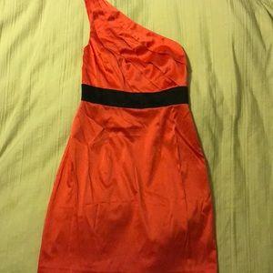 One shoulder mini dress, watermelon pink